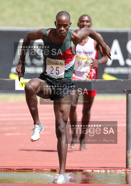BELLVILLE, SOUTH AFRICA, Saturday 3 March 2012, Edwin Molepo hurdles the waterjump in the mens 3000m steeple chase which he won in 8:53.03 during the Yellow Pages Interprovincial held at Bellville Stadium stadium, outside Cape Town..Photo by ImageSA/ASA