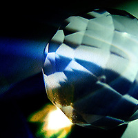 A macro shot of faceted object