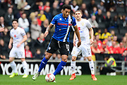 Rochdale midfielder Nathaniel Mendez-Laing (11) looks to release the ball during the EFL Sky Bet League 1 match between Milton Keynes Dons and Rochdale at stadium:mk, Milton Keynes, England on 11 March 2017. Photo by Dennis Goodwin.