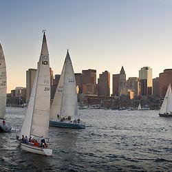 Sailboat race in Boston Harbor, Boston, Massachusetts