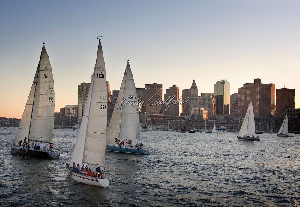 Sailboat race in Boston Harbor, Boston, Massachusetts