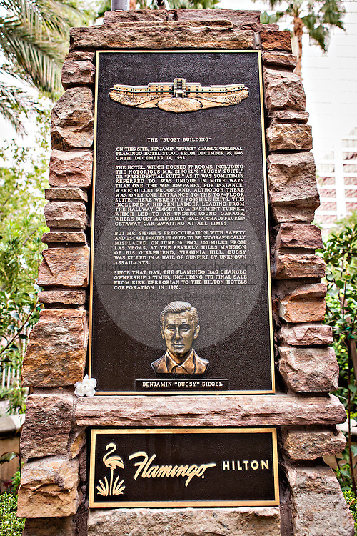 Memorial to mobster Bugsy Siegel at the Flamingo Hotel & Casino in Las Vegas, NV.