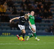 24th January 2018, Dens Park, Dundee, Scottish Premiership, Dundee versus Hibernian; Dundee's A-Jay Leitch-Smith and Hibernian's Dylan McGeouch