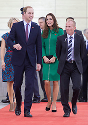 HAMILTON- NZ- APR-2014: The Duke and Duchess of Cambridge officially open the new National Cycling Centre of Excellence and Avantidrome, Cambridge, New Zealand.<br /> Prince William and Kate watched a cycle race, and were given a little bicycle for Prince George.<br /> Photograph by Ian Jones