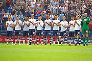 Preston North End players observe a minutes applause during the Sky Bet Championship match between Preston North End and Leeds United at Deepdale, Preston, England on 7 May 2016. Photo by Pete Burns.