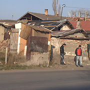 The main road that passes through the ghetto divides the two sides in one poorer than the other. Even in the ghetto there is a social hierarchy. This is the poorest part of the ghetto.Fakulteta roma ghetto, Sofia, Bulgaria.