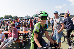 Malgorzata Jasinska weaves through the crowds to sign on at Boels Rental Ladies Tour Stage 6 a 159.7 km road race staring and finishing in Sittard, Netherlands on September 3, 2017. (Photo by Sean Robinson/Velofocus)