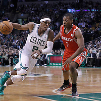 06 March 2012: Boston Celtics point guard Rajon Rondo (9) drives past Houston Rockets point guard Kyle Lowry (7) during the Boston Celtics 97-92 (OT) victory over the Houston Rockets at the TD Garden, Boston, Massachusetts, USA.