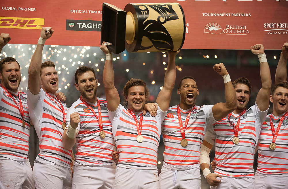 Tom Mitchell lifts the cup as England Win the 2017 Canada Sevens,  Round Six of the World Rugby HSBC Sevens Series in Vancouver, British Columbia, Sunday March 12, 2017. <br /> <br /> Jack Megaw.<br /> <br /> www.jackmegaw.com<br /> <br /> jack@jackmegaw.com<br /> @jackmegawphoto<br /> [US] +1 610.764.3094<br /> [UK] +44 07481 764811