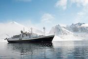 Magdalena glacier and fjord, Spitsbergen, Norway.