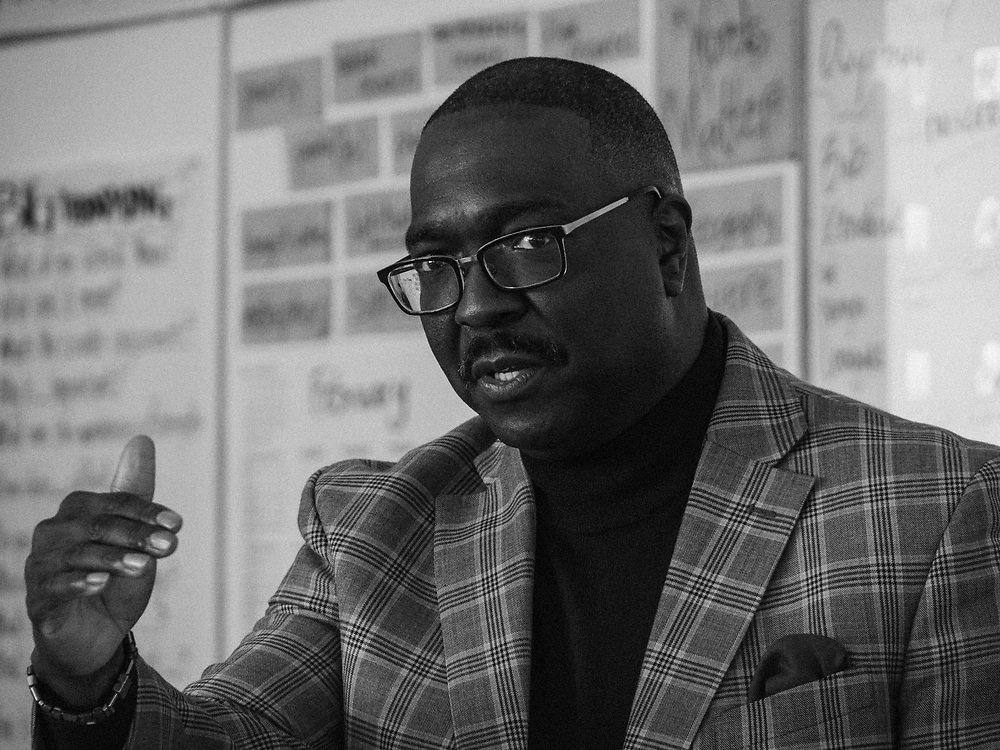 Bob Kendrick, president of the Negro Leagues Baseball Museum visits at Nelson Mandela Park Public School in Regent Park neighbourhood about the legacy of the Negros League.