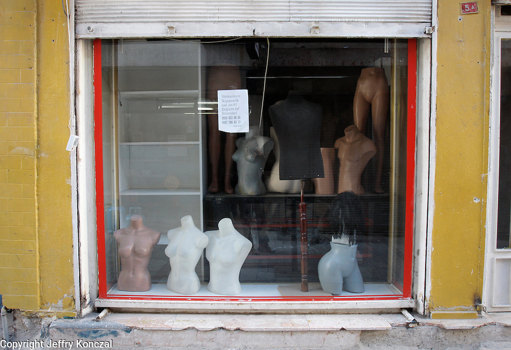 A shop window with mannequin's in Izmir, Turkey.