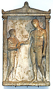 Marble tombstone, found in Delos A nude youth taking an oil flask from a boy attendant, About 375 BC Given by W Rooke,1825