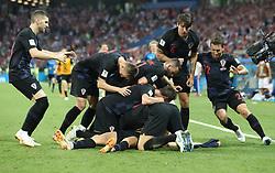 SOCHI, July 7, 2018  Players of Croatia celebrate Domagoj Vida's goal during the 2018 FIFA World Cup quarter-final match between Russia and Croatia in Sochi, Russia, July 7, 2018. (Credit Image: © Cao Can/Xinhua via ZUMA Wire)