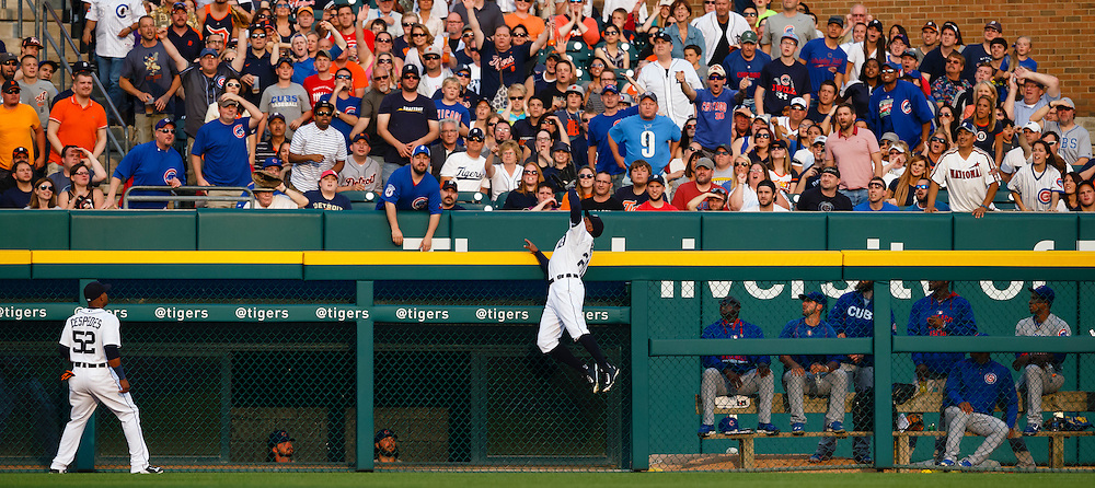 Jun 9, 2015; Detroit, MI, USA; Detroit Tigers center fielder Rajai Davis (20) leaps up onto the wall to makes a catch of a ball hit batting Chicago Cubs catcher David Ross (3) in the second inning at Comerica Park. Mandatory Credit: Rick Osentoski-USA TODAY Sports