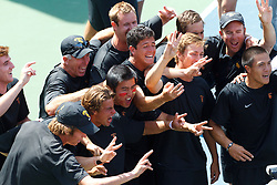 May 24, 2011; Stanford, CA, USA;  The Southern California Trojans celebrate after defeating the Virginia Cavaliers during the finals of the men's team 2011 NCAA Tennis Championships at the Taube Tennis Center. USC defeated UVA 4-3.