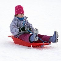 Perth Weather...29.12.09.... Grace Moir (7) from Perth making the most of the snow and ice sledging on Kinnoull Hill in Perth<br /> Picture by Graeme Hart.<br /> Copyright Perthshire Picture Agency<br /> Tel: 01738 623350  Mobile: 07990 594431