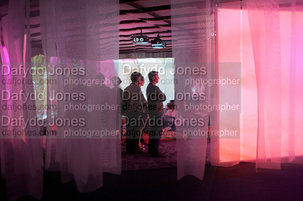 Gallerygoers at 'Eyeball Massage', Pipilotto Rist exhibition opening. Hayward Gallery. <br /> <br />  , -DO NOT ARCHIVE-© Copyright Photograph by Dafydd Jones. 248 Clapham Rd. London SW9 0PZ. Tel 0207 820 0771. www.dafjones.com.
