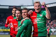 NIJMEGEN, NEC - Heracles Almelo, voetbal, Eredivisie seizoen 2015-2016, 06-03-2016, Stadion de Goffert, NEC speler Christian Santos (M) heeft de 1-0 gescoord, NEC speler Lucas Woudenberg (R), NEC speler Joey Sleegers (2L), NEC speler Marcel Appiah (L).
