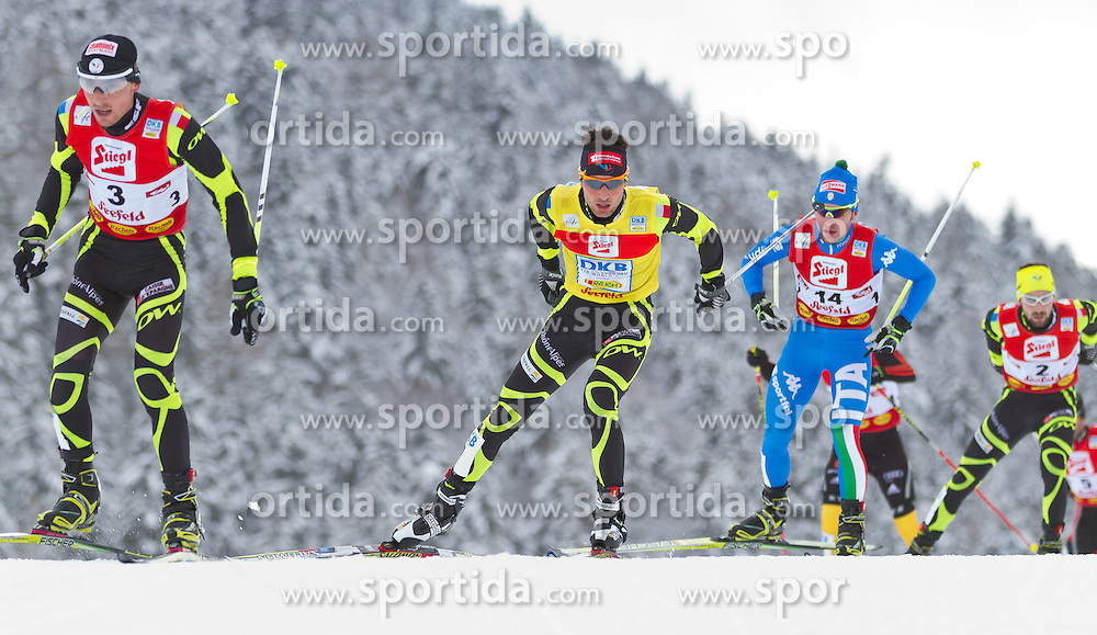 19.12.2011, Casino Arena, Seefeld, AUT, FIS Nordische Kombination, Langauf 10 km, im Bild Janson Lamy Chappuis (FRA) // Janson Lamy Chappuis of France Alessandro Pittin (ITA) // Alessandro Pittin of Italy during the cross-country skiing 10 km at FIS Nordic Combined World Cup in Sefeld, Austria on 20111211. EXPA Pictures © 2011, PhotoCredit: EXPA/ P.Rinderer