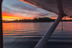 Dawn as seen from a plane on Ambajejus Lake in Millinocket, Maine.