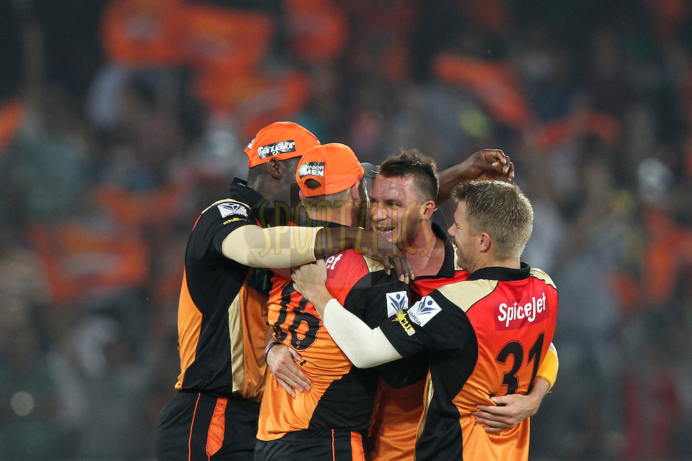 Aaron Finch , David Warner and Dale Steyn of the Sunrisers Hyderabad celebrates the wicket of Gautam Gambhir captain of the Kolkata Knight Riders during match 43 of the Pepsi Indian Premier League Season 2014 between the Sunrisers Hyderabad and the Kolkata Knight Riders held at the Rajiv Gandhi Cricket Stadium, Hyderabad, India on the 18th May  2014<br /> <br /> Photo by Deepak Malik / IPL / SPORTZPICS<br /> <br /> <br /> <br /> Image use subject to terms and conditions which can be found here:  http://sportzpics.photoshelter.com/gallery/Pepsi-IPL-Image-terms-and-conditions/G00004VW1IVJ.gB0/C0000TScjhBM6ikg