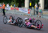Competitors race along The Mall in The Prudential RideLondon Handcycle Grand Prix. Saturday 28th July 2018<br /> <br /> Photo: Ian Walton for Prudential RideLondon<br /> <br /> Prudential RideLondon is the world's greatest festival of cycling, involving 100,000+ cyclists - from Olympic champions to a free family fun ride - riding in events over closed roads in London and Surrey over the weekend of 28th and 29th July 2018<br /> <br /> See www.PrudentialRideLondon.co.uk for more.<br /> <br /> For further information: media@londonmarathonevents.co.uk