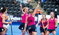 LONDON -  Unibet Eurohockey Championships 2015 in  London.  Scotland v Italy. Scottish.  Scottish celebration for the 3-0. Alison Howie (l) and Kareena Marshall , who scored.    WSP Copyright  KOEN SUYK