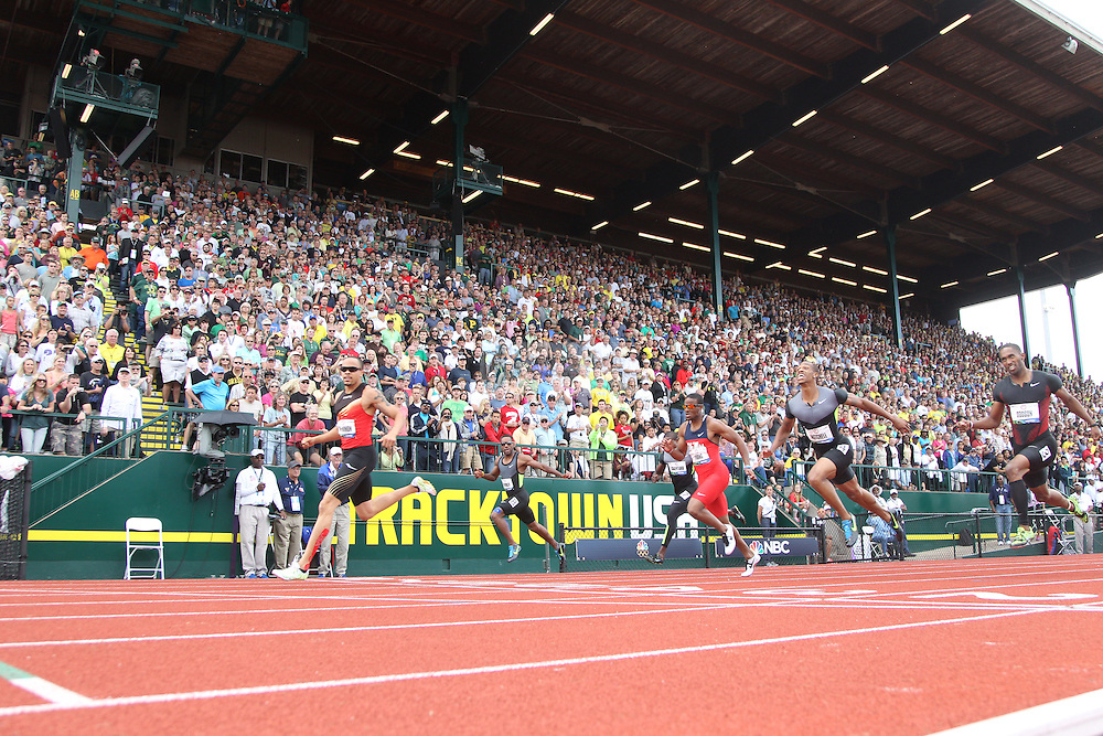 Wallace Spearmon Jr. (L) crosses the finish line to win the finals of the 200m during day 10 of the U.S. Olympic Trials for Track & Field at Hayward Field in Eugene, Oregon, USA 1 Jul 2012..(Jed Jacobsohn/for The New York Times)....