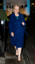 © Licensed to London News Pictures. 08/02/2016. London, UK. LIZ TRUSS leaves The Brewery in London after the annual Conservative Party Black & White Ball, a Conservative Party fundraiser.  Photo credit: Ben Cawthra/LNP
