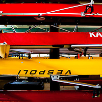 TAMPA, FL  -- Boats sit on racks in the boathouse near the Tampa Bay Rowing Club on the University of Tampa campus near the Cass Street Bridge in Tampa, Florida. (Chip Litherland for Bay Magazine)