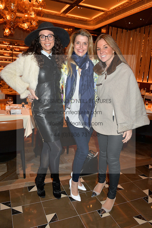 Left to right, LILLY BECKER, SABINE ROEMER and NATHALIE DAURIAC at the Cash & Rocket Tour Announcement Launch Lunch in association with McArthur Glen was held at The Grill, The Dorchester, Park Lane, London on 12th March 2015.