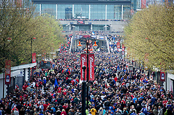 LONDON, ENGLAND - Saturday, April 14, 2012: Liverpool and Everton supporters walk up Wembley Way to watch the 218th Merseyside Derby, the FA Cup Semi-Final, at Wembley. (Pic by David Rawcliffe/Propaganda)