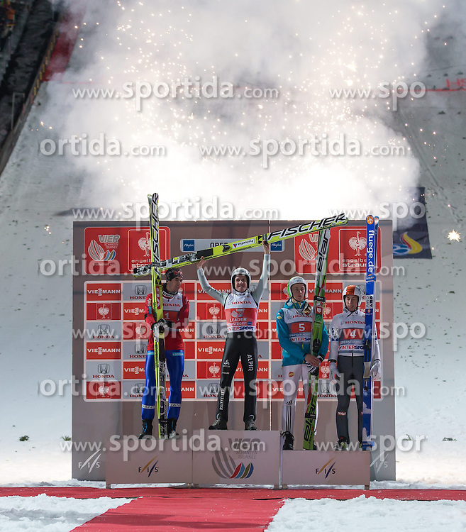Vierschanzentournee, Podium, im Bild vl. nr. zweiter Platz Anders Bardal (NOR), Sieger Simon Amman (SUI), dritter Platz Peter Prevc (SLO) und Thomas Diethart (AUT) // from left to right second Placed Anders Bardal of Norway, Winner Simon Amman of Switzerland , third Place Peter Prevc of Slovenia and Thomas Diethard of Austria celebrate on Podium of 62th Four Hills Tournament of FIS Ski Jumping World Cup at the Schattenbergschanze, Oberstdorf, Germany on 2013/12/29. EXPA Pictures © 2013, PhotoCredit: EXPA/ Peter Rinderer