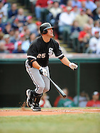 The Cleveland Indians defeated the Chicago White Sox Monday, March 31 at Progressive Field in Cleveland. The Indians defeated the White Sox 10-8. Jim Thome hits a 2-run, home run.