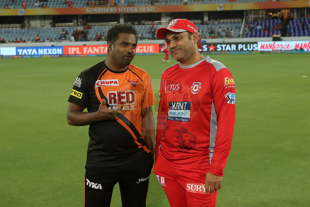 Muthiah Murlidaran bowling coach of Sunrisers Hyderabad and Virendra Sehwag Mentor of Kinga XI Punjab during match twenty five of the Vivo Indian Premier League 2018 (IPL 2018) between the Sunrisers Hyderabad and the Kings XI Punjab  held at the Rajiv Gandhi International Cricket Stadium in Hyderabad on the 26th April 2018.<br /> <br /> Photo by: Prashant Bhoot /SPORTZPICS for BCCI