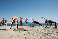 Yoga on the Pier at Lake Shore Park.  ©2018 Karen Bobotas Photographer