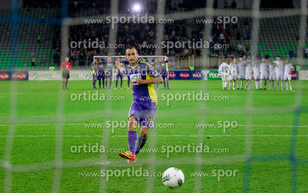 Dalibor Volas of Maribor shooting penalty shot during football match between NK Celje and NK Maribor in final of Hervis Cup 2011/12, on May 23, 2012 in SRC Stozice, Ljubljana, Slovenia. Maribor defeated Celje after penalty shots and became Slovenian Cup Champion. (Photo by Vid Ponikvar / Sportida.com)