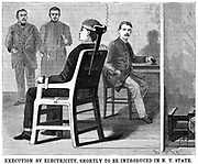 Artist's impression of execution by electric chair, prepared after experiments on the practicability of electrocution as method of execution. From 'Scientific American' New York, 30 June 1888. Westinghouse AC system. First execution was carried out at Auburn Prison, New York, 6 August 1890.  Engraving