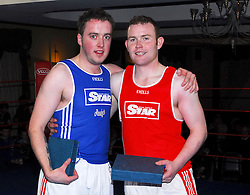 James McGing and Liam Tunney Ballintubber White Collar boxing night ...Pic Conor McKeown