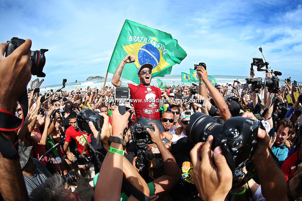 Filipe Toledo of Brasil (pictured) celebrates his win at the Oi Rio Pro in Barra De Tijuca, Rio, Brasil.