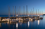 Sail boats at the White Rock Pier Marina in White Rock, British Columbia, Canada