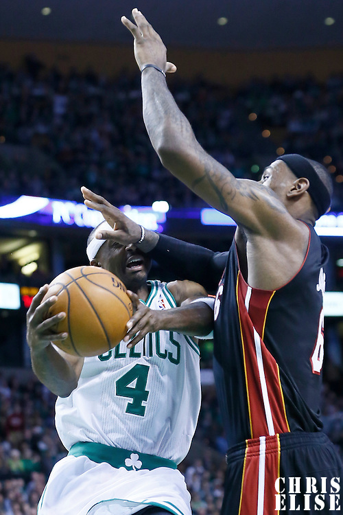 27 January 2013: Miami Heat small forward LeBron James (6) fouls Boston Celtics shooting guard Jason Terry (4) during the Boston Celtics 100-98  2OT victory over the Miami Heat at the TD Garden, Boston, Massachusetts, USA.