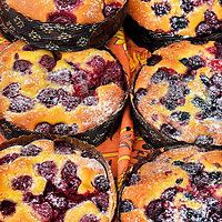 French Berry Tortes at Outdoor Market in Fréjus, France