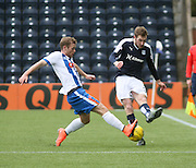 Dundee&rsquo;s Kevin Holt and Kilmarnock&rsquo;s Rory McKenzie - Kilmarnock v Dundee, Ladbrokes Premiership at Rugby Park<br /> <br />  - &copy; David Young - www.davidyoungphoto.co.uk - email: davidyoungphoto@gmail.com