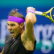 2019 US Open Tennis Tournament- Day Ten.  Rafael Nadal of Spain in action against Diego Schwartzman of Argentina in the Men's Singles Quarter-Finals match on Arthur Ashe Stadium during the 2019 US Open Tennis Tournament at the USTA Billie Jean King National Tennis Center on September 4th, 2019 in Flushing, Queens, New York City.  (Photo by Tim Clayton/Corbis via Getty Images)