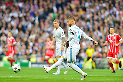 May 2, 2018 - Madrid, Spain - MADRID, SPAIN. May 1, 2018 - Sergio Ramos in action. With a 2-2 draw against Bayern Munchen, Real Madrid made it to the UEFA Champions League Final for third time in a row. Kimmich and James scored for the german squad while Karim Benzema did it twice for los blancos. Goalkeeper Keylor Navas had a great night with several decisive interventions. (Credit Image: © VW Pics via ZUMA Wire)