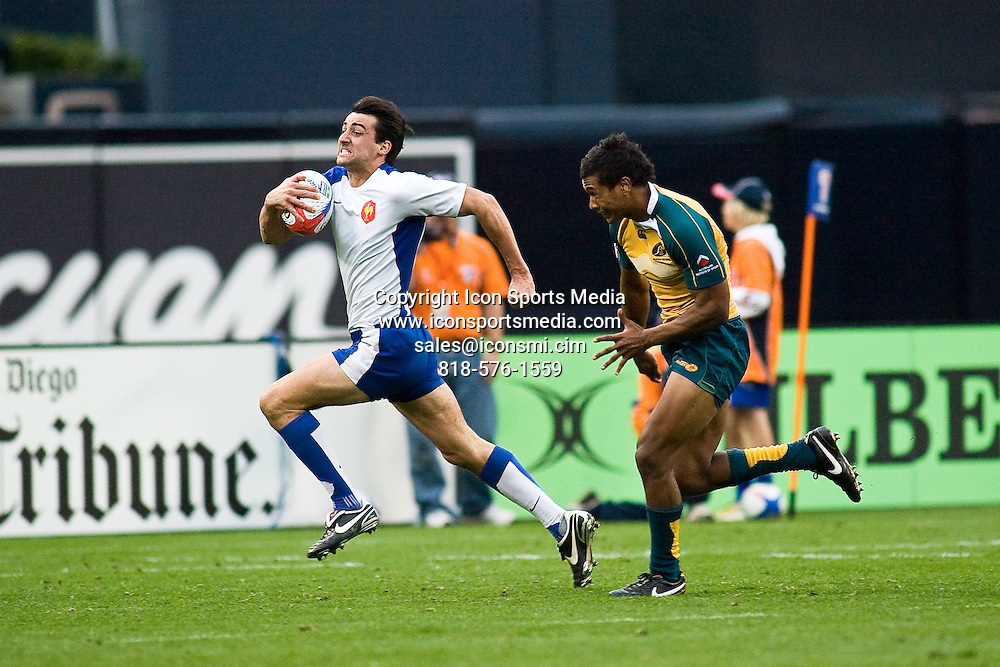 February 15, 2009: France's Paul Albaladejo attempts to score while being defended by Australia's Aidan Toua during the Bowl Final.  Australia won the final 40-0 at the 2009 IRG USA Sevens World Series at Petco Park in San Diego, California.
