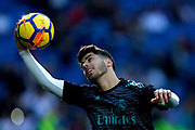 Real Madrid's Spanish midfielder Marco Asensio warms up before the Spanish championship Liga football match between Real Madrid CF and RC Deportivo on January 21, 2018 at Santiago Bernabeu stadium in Madrid, Spain - Photo Benjamin Cremel / ProSportsImages / DPPI