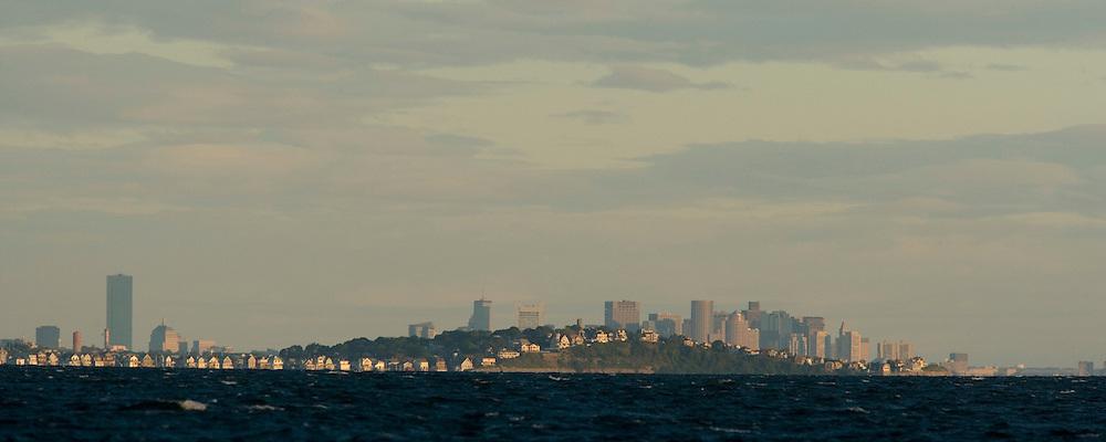 Scituate coast infront of the Boston cityscape
